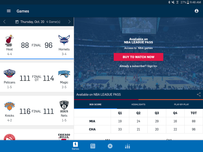 NBA mobile app for Android as an example of second screen